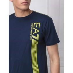 Armani Men's EA7 Lines Navy Short Sleeve T-Shirt - Laurelled