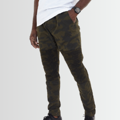 BRAVE SOUL CAMO PRINTED BIKER PANEL DRAWCORD TROUSERS - Laurelled