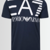 Armani Men's EA7 Printed Logo Navy Short Sleeve T-Shirt - Laurelled