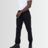 BRAVE SOUL PLAIN BLACK COTTON TWILL CUFFED TROUSERS - Laurelled