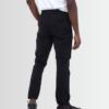 BRAVE SOUL PLAIN BLACK COTTON TWILL CUFFED TROUSERS - Laurelled
