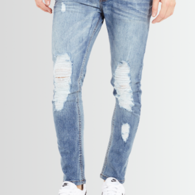 BRAVE SOUL BLEACHED BLUE DENIM RIPPED SKINNY JEANS - Laurelled