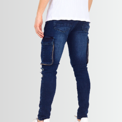 BRAVE SOUL BLUE RIPPED POCKET DETAIL BIKER DENIM JEANS - Laurelled