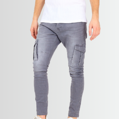 BRAVE SOUL CARGO POCKET DETAIL CHARCOAL WASH DENIM SKINNY JEANS - Laurelled