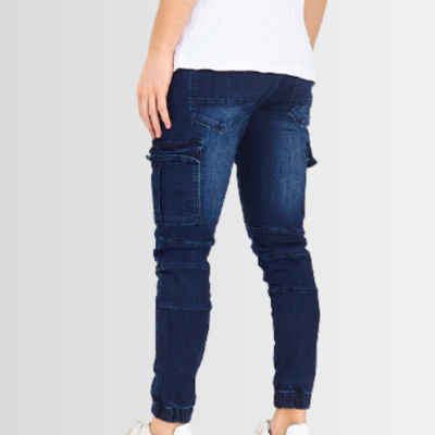 BRAVE SOUL DARK BLUE DENIM RIPPED CUFFED BIKER JEANS - Laurelled