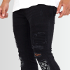 BRAVE SOUL PAISLEY PATCH DETAIL CHARCOAL RIPPED SKINNY JEANS - Laurelled