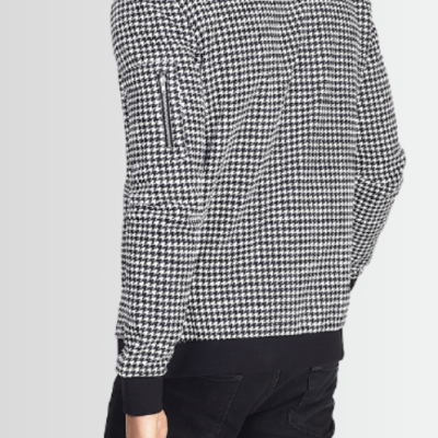 BRAVE SOUL MONOCHROME HOUNDSTOOTH DESIGN ZIP UP SWEATSHIRT - Laurelled