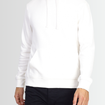 BRAVE SOUL WHITE BRUSHBACK FLEECE POCKET DETAIL HOODIE - Laurelled